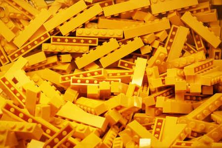 Bruxelles, Belgium - 05th May 2017 - Yellow lego bricks' bowl in Bruxelles main store