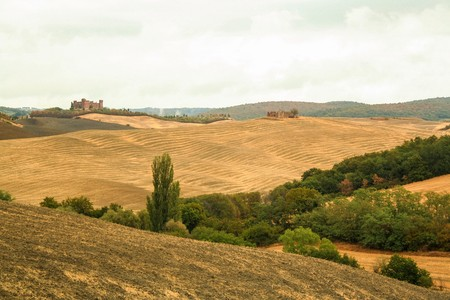 Tuscan countryside of Val dOrcia Stock Photo