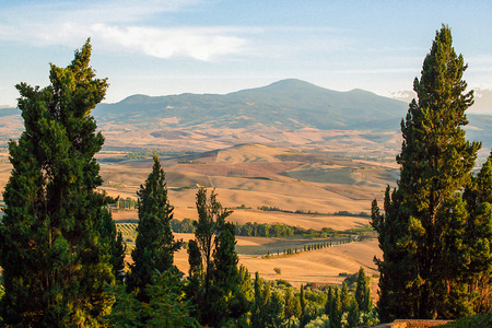 pienza: Tuscan countryside, Val dOrcia, viewed from Pienza, Tuscany Italy Stock Photo