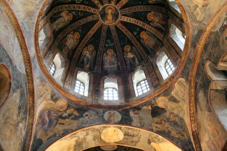 dome of the rock: byzantine mosaics in  the  the  Church of the Holy Saviour in Chora , Istanbul
