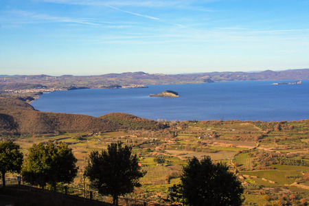 Landscape o Bolsena lake viewed from Montefiascone , Viterbo, Lazio, Italy
