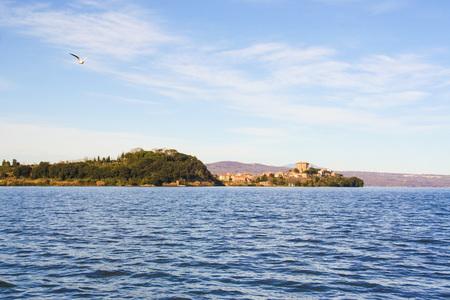 marta: view of capodimonte from Marta village, on Bolsena lake, Lazio, Italy  Stock Photo