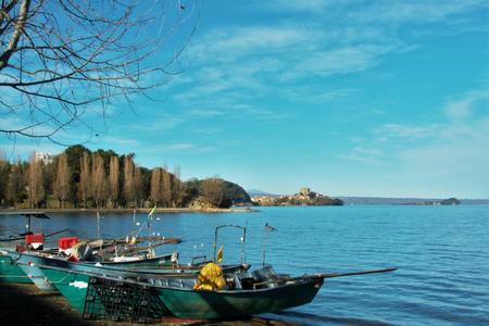 marta: view of the fishermen burg of Marta on Bolsena lake, Lazio, Italy