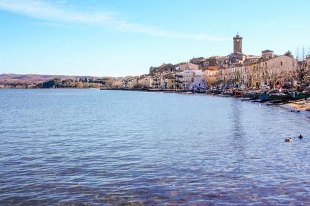 view of the burg of Marta on Bolsena lake, Lazio, Italy Stock Photo