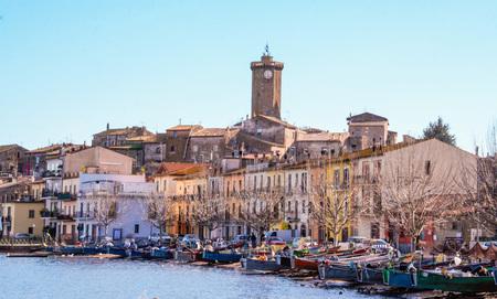 view of the burg of Marta on Bolsena lake, Lazio, Italy Editorial
