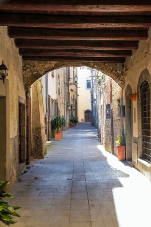 marta: picturesque streets of the fishermen burg of Marta on Bolsena lake, Lazio, Italy, Stock Photo