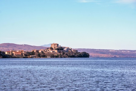 marta: view of capodimonte from Marta village, on Bolsena lake, Lazio, Italy