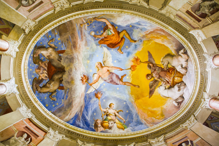 at CAPRAROLA, Viterbo, Lazio, Italy , ON 12302016 frescoes  of  Palazzo Farnese Editorial