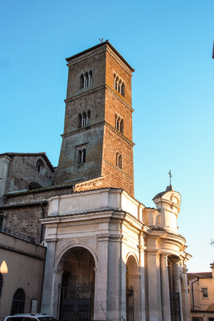 lazio: medieval tower and church of Sutri, Lazio, Italy  Stock Photo