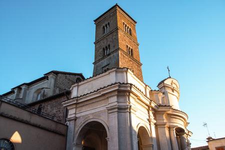 lazio: medieval tower and church of Sutri, Lazio, Italy  Stock Photo