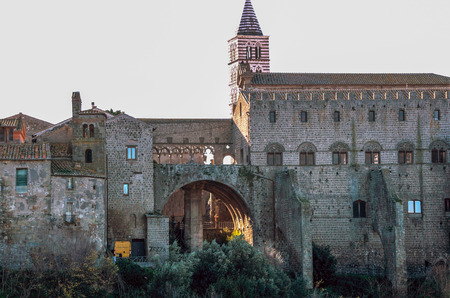 building of the medieval district of San Pellegrino  at Viterbo, Lazio, Italy