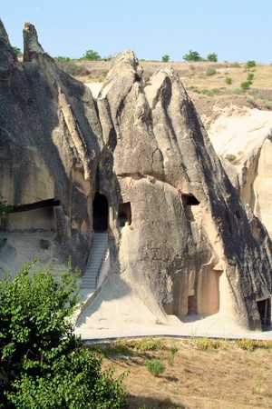 monastic: spectacular landscape, entirely sculpted by erosion, of  G�reme valley and its surroundings  Stock Photo