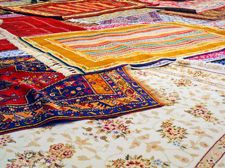 handmade traditional carpets in a textile manifacturing in Turkey