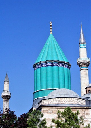 Mevlana Museum (1274) is the resting place of the Sufi mystic and poet Rumi in Konya, the capital of the Anatolian Seljuk Sultanate.