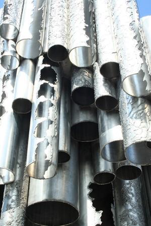 sibelius: detail of metallic pipes of Sibelius monument at Helsinki, Finland