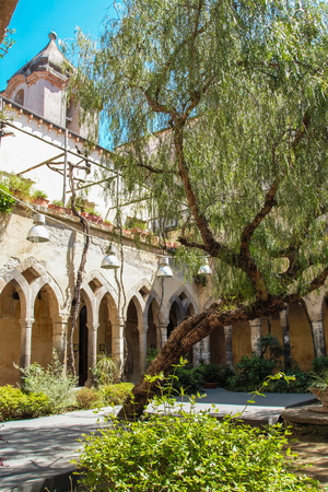 The medieval cloister of Saint  Francis in Sorrento, Naples, Italy Editorial
