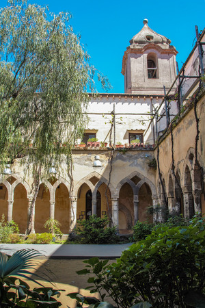 of assisi: The medieval cloister of Saint  Francis in Sorrento, Naples, Italy Editorial