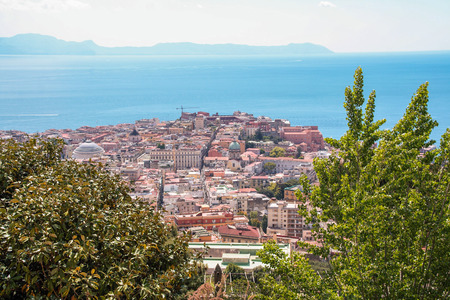 cityscape of Naples and its gulf from san martino hill