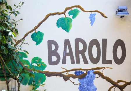 Barolo - Wine shop sign in Piedmont, Langhe,  Italy Editorial