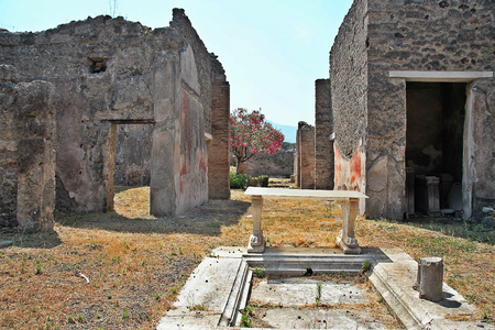 AT POMPEI - ON 0622 2017 - Ruins of  ancient roman town of Pompeii, destroyed by vesuvius eruption in 70 d.c. Editorial