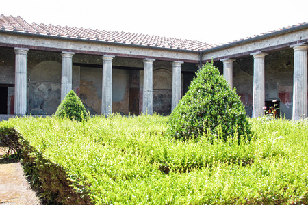 archaeological sites: AT POMPEI - ON 0622 2017 - Ruins of  ancient roman town of Pompeii, destroyed by vesuvius eruption in 70 d.c. Editorial