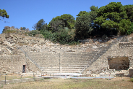 archeological: archeological ruins of  roman theater in Pollios villa at Pausyllipon, Naples,