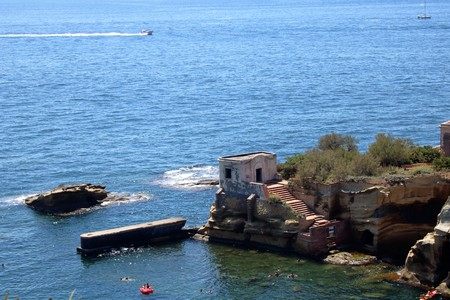 Gaiola protected area and abandoned island at Posillipo, Naples, Italy Banco de Imagens