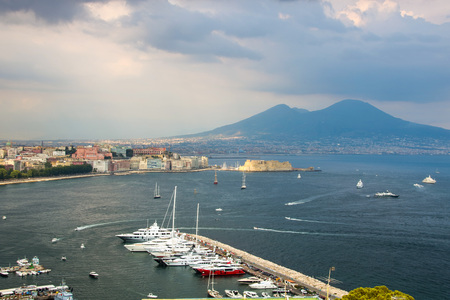 Cityscape of Naples and its gulf on a summer day Editorial