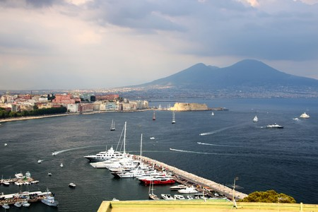 Cityscape of Naples and its gulf on a summer day Stock Photo