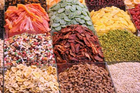 dried fruits assortment in boqueria market at barcelona