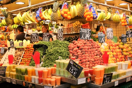 AT BARCELONA ON 08302011 - fruit stand ar boqueria market of Barcellona Stock Photo