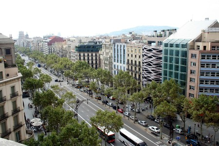 AT BARCELONA ON 08302011- aerial view of paseo de gracia
