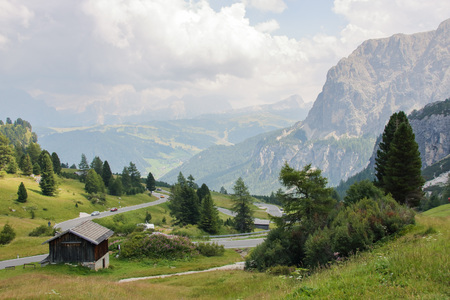 Landscape of Dolomites mountain at Passo Gardena  in Sud Tyrol, Italy
