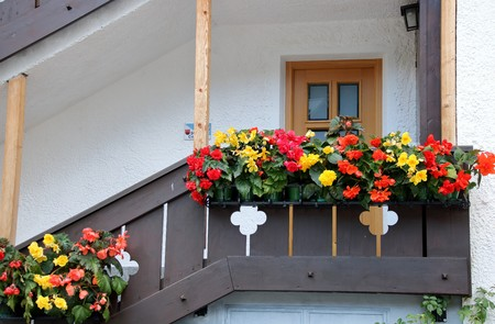 Detail of a typical flowered house in Sud Tirol, Alto Adige, Italy Stock Photo