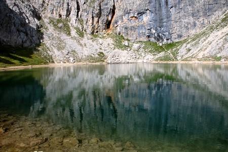 Lake of Boe, a little alpin lake in Dolomite mountain in Alta Badia, Alto Adige, Italy
