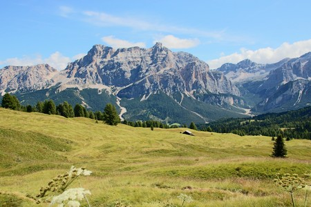Landscape of Dolomites mountain at Col Alt   in Alto Adige, Sud Tyrol, Italy Stock Photo