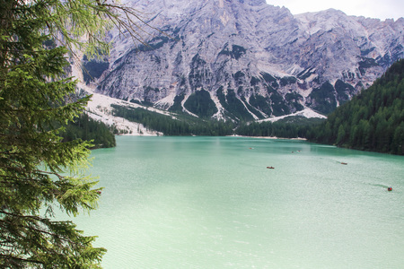 The emerlad water of lake of Braies in Alto Adige, Italy