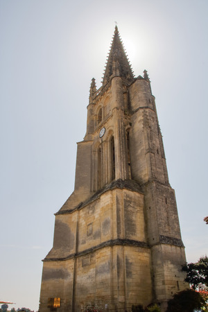 the bell tower of monolithic church at Saint Emilion, Gironde, France