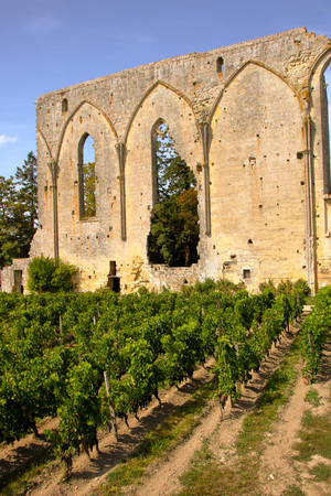 The great wall at saint emilion, remnant of domenican monastery, Aquitaine, France Stock Photo