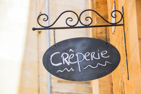 the sign of a creperie in Bergerac in french aquitaine