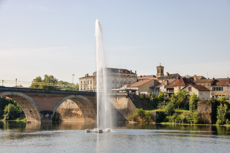 the town of Bergerac on dordogne river in aquitaine, france