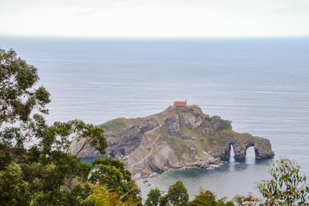 Scenic view of the promontory of San Juan de Gastelugatxe one of most impressive landscapes of Basque Coast in north of Spain