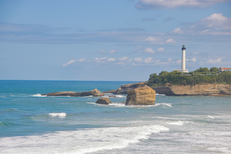 View of la grande plage, the great beach of Biarritz, Pyrenees-Atlantiques, France, in summer.
