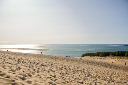 view of the sandy  dune of pilat and arcachon basin in france, aquitaine. Stock Photo