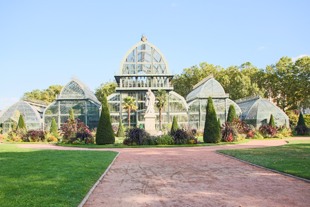 greenhouse in the park tete d'or of Lyon, France 新聞圖片