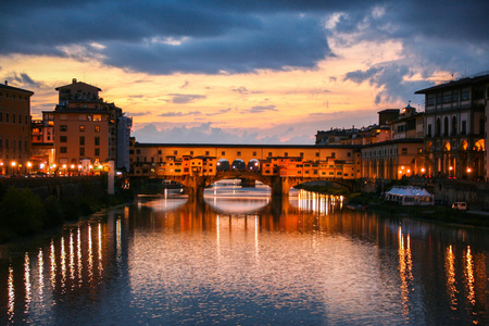City of Florence and Ponte vecchio, the old bridge over Arno river, Italy
