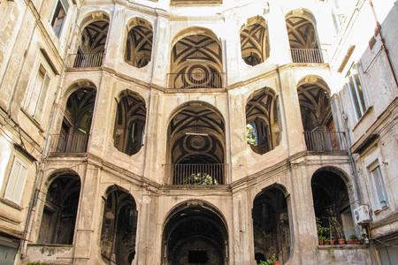 the baroque stairs of Palazzo Sanfelice , Naples Italy Stock Photo