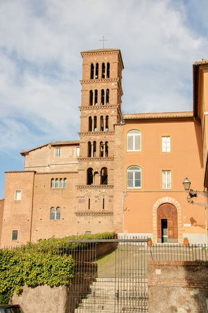The medieval church of S. Giovanni e Paolo, with its wonderful belfry  on Celio hill at Rome, Italy