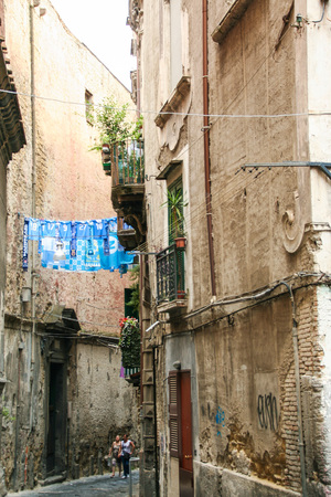 AT NAPLES - ITALY - ON 08/31/2016 -Via dell'Anticaglia, one of the ancient decumans of old city of Naples, Italy Editorial