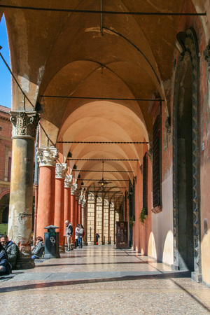 AT BOLOGNA - ITALY - ON 03/24/ 2013 - Portico in the square of Santo Stefano at Bologna, Italy Editorial
